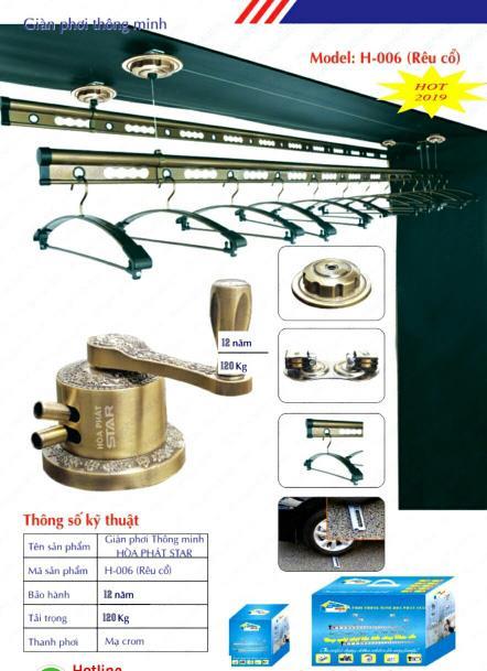 Công năng khi sử dụng giàn phơi thông minh tại Hà Nội H-006 rêu cổ